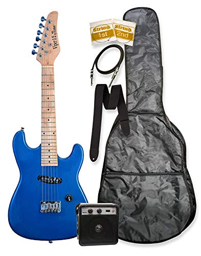 "32″ Metallic Blue Junior Kids Mini 1/2 Half Size Electric Starter Guitar and Amplifier with ""Learn to Play Guitar DVD"", Bag, Strap, Extra Strings, & DirectlyCheap(TM) Medium Guitar Pick"