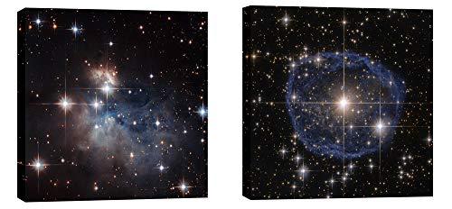 Epic Graffiti Stellar Fingerprint Series Hubble Space Telescope Diptych Giclee Canvas Wall Art, 12 x 12, Black