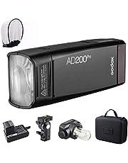 Godox AD200 Pro Versione, 200 Ws Flash Flash da 2,4 G, flash HSS 1/8000, 500 Full Power, 0,01-2,1 s Riciclaggio, batteria 2900 mAh, luce flash/Speedlite Fresnel Flash Head