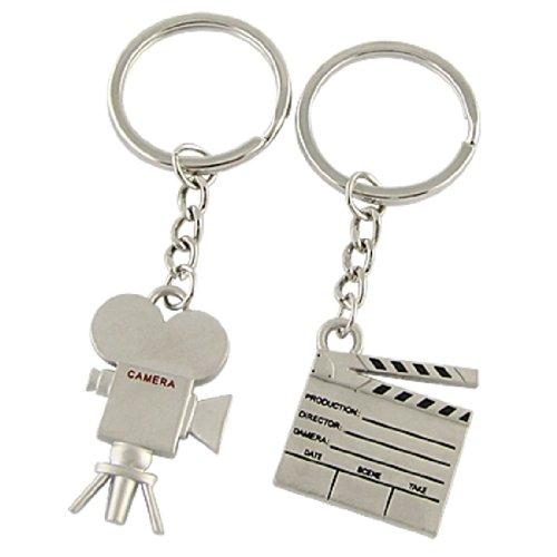 Silver Tone 2 Pcs Film Clipboard Camera Key Chain Ring ()