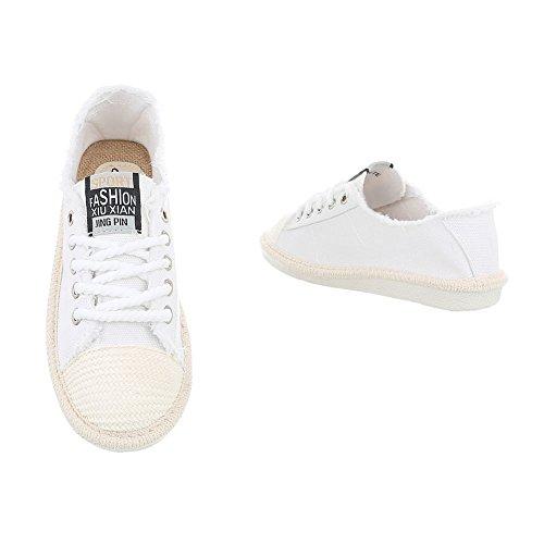 Ital-Design Sneakers Low Damenschuhe Schnürsenkel Freizeitschuhe Weiß D-39