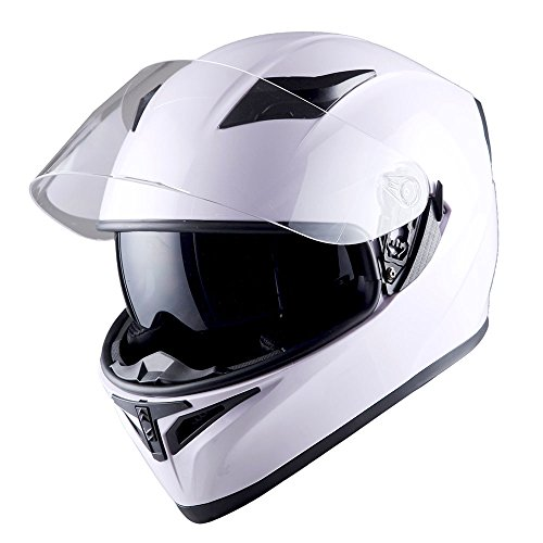 1STorm Motorcycle Street Bike Dual Visor/Sun Visor Full Face Helmet Mechanic Glossy White, Size Medium (55-56 CM,21.7/22.0 Inch)