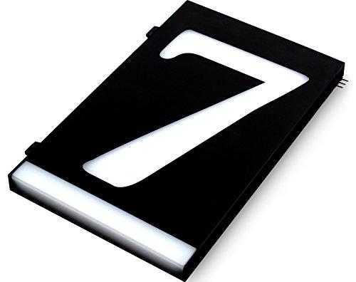 HOMIDEA Backlit LED House Number and Sound Activated Overhead Light. Personalized Large Black and White Modern Address Number Sign/Custom Street Number Plaque. (7) (Solar Led Light Address)
