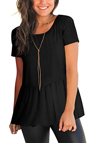 Casual Tee Top Shirts for Women Open Back Flowy Blouse Black ()