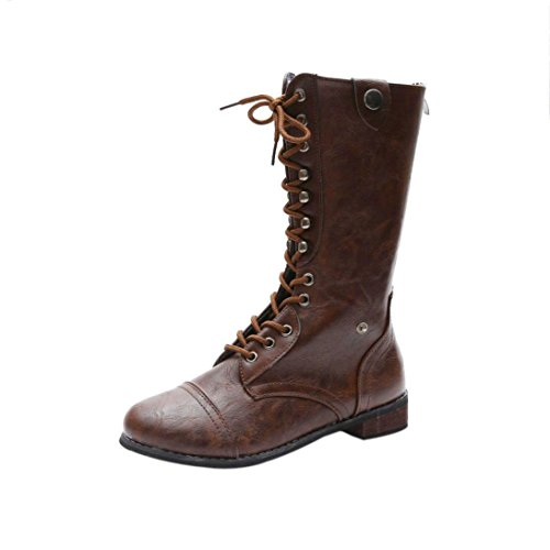 Riding Casual Heel Platform Women Boot Shoes Lace Momola up Brown High Ski Boots Leather Cowboy Boot Outdoor Flat Uqvfw6Zxf