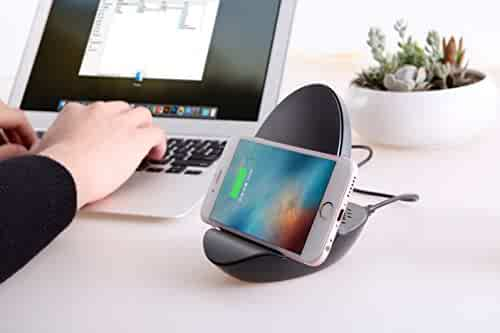 Wireless Charging Smartphone Dock with Built-In Bluetooth Speaker, 10W Fast Charging, Qi Standard, Desk Cell Phone Stand, Smartphone Wireless Charging Speaker Dock