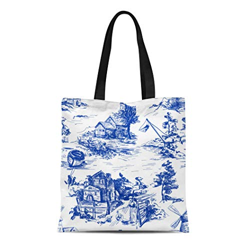 Classic Cotton Boat Tote - Semtomn Cotton Canvas Tote Bag Classic Pattern Old Town Village Scenes of Fishing Reusable Shoulder Grocery Shopping Bags Handbag Printed