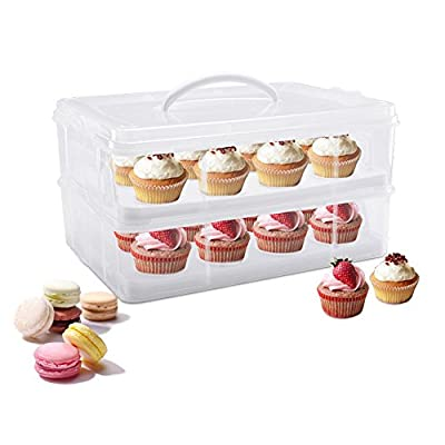 CHULUX Cupcake Carrier and Holder 2 Layers for 24 Cupcakes,White