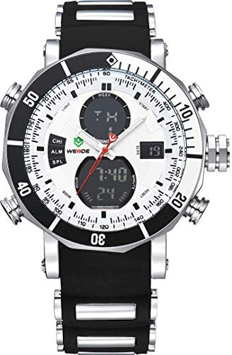 - WEIDE Men's Analog Digital Watch Quartz LCD Stopwatch Water Resistant Silicone Movement Sports Watches Black Band (White&Black)