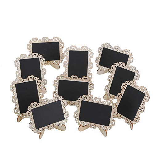 12 PCS Mini Chalkboard Signs with Decorative Boarder Easel Stand for Message Board Signs Wedding Party Table Numbers Place Card Decorative Sign ()