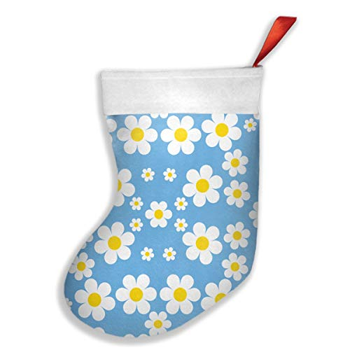 - HDIAJ Daisies Aqua Blue Wallpaper (2001) Christmas Sock White Plush Cuff Decorations Holders Candy Pouch Bag