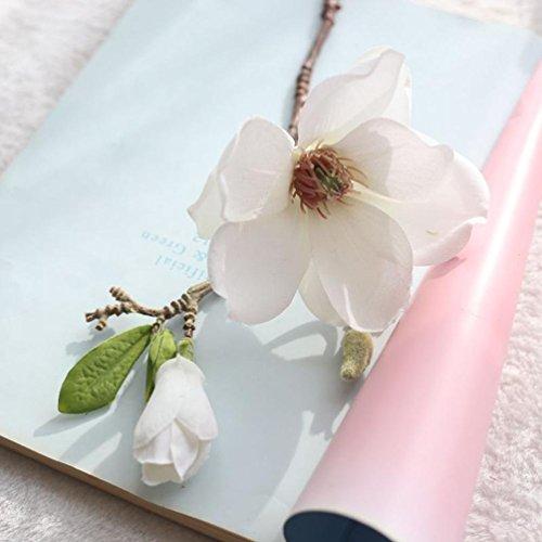 LtrottedJ Artificial Fake Flowers Leaf Magnolia Floral ,Wedding Bouquet Party Home Decor (A)