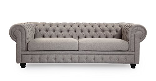 Kardiel Chesterfield Style Classic Modern Contemporary Sofa, Earl Grey Velour