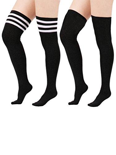 Zando Women's Cute Triple Stripe Durable Cotton Over the Knee Thigh High Socks 2 Pairs Black w Black w White