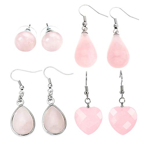 JOVIVI 4pairs Natural Pink Rose Quartz Gemstone Teardrop Stud Earrings Drop Dangle Earrings for Women Gifts