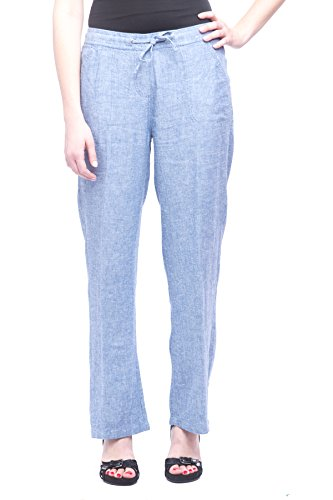 Missy Women's Wide Bottom Linen Pants With Pockets Blue Chambray M