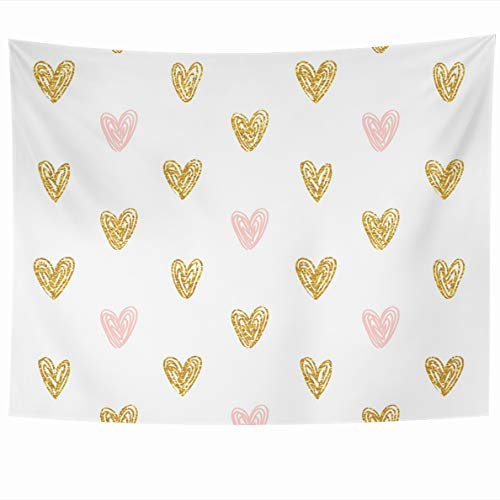 (Ahawoso Tapestry 80x60 Inches Pink Rose Polka Dot Gold Hearts Black Kids Foil Abstract Golden Love Cute Wall Hanging Home Decor Tapestries for Living Room Bedroom Dorm)