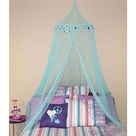 Childrens Girls Turquoise Pretty Princess Floral Teal Blue Canopy Twin/Full Flower Bed Frame & Amazon.com: Childrens Girls Turquoise Pretty Princess Floral Teal ...