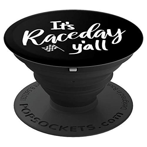 Race Quote It's Raceday Y'all Checkered Flag Racing Gifts - PopSockets Grip and Stand for Phones and Tablets