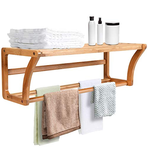 Tangkula Wall Mounted Towel Rack with Shelf Storage for Bath & Household Items, Great for Bathroom