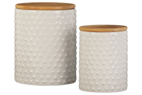 Urban Trends 50930 Ceramic Round Canister with Pimpled Design Body/Bamboo Lid Gloss Finish (Set of 2) White 2 Piece