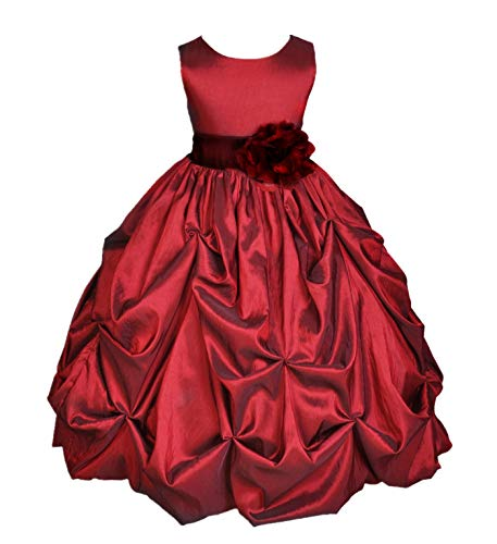 ekidsbridal Taffeta Pick-Up Bubble Apple Red Flower Girl Dresses Recital Dress Birthday Girl Dresses Communion Dress 301S 6 ()
