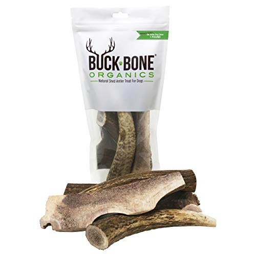 Buck Bone Organics Elk Antler for Dogs, Naturally Sourced from Shed Antler in The USA - 1 LB Bag ()