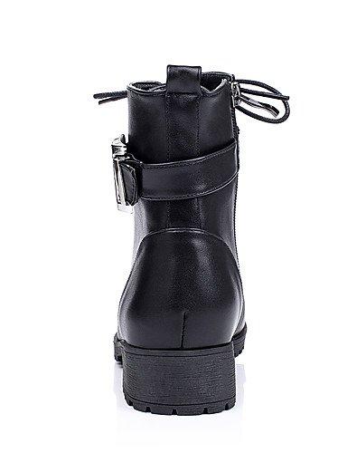 XZZ/ Damenschuhe-Stiefel-Outddor / Kleid / Lässig-Kunstleder-Blockabsatz-Armeestiefel / Rundeschuh / Modische Stiefel-Schwarz / Khaki khaki-us6 / eu36 / uk4 / cn36