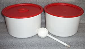 Tupperware Coffee House Canister Set, Red Seals, plus Scoop