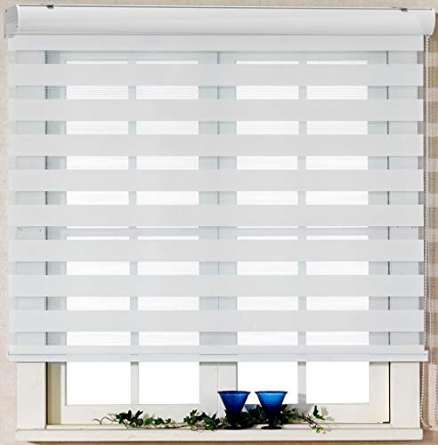 (Foiresoft Custom Cut to Size, [Winsharp Basic, Grey, W 27 x H 64 inch] Zebra Roller Blinds, Dual Layer Shades, Sheer or Privacy Light Control, Day and Night Window Drapes,)