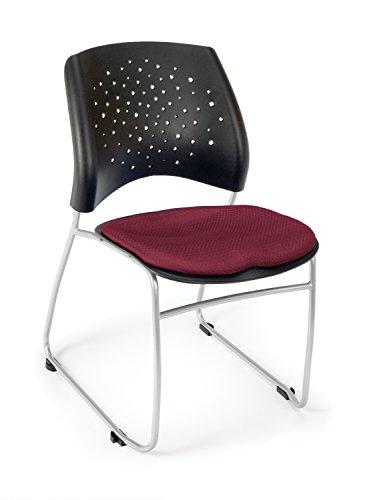 OFM Stars Series Armless Fabric Swivel Chair, - Burgundy Fabric Swivel