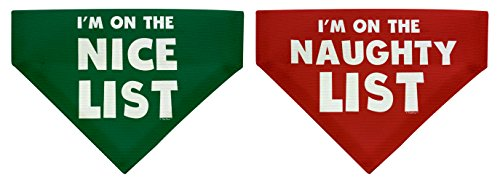 Dog Christmas Decorations I'm on the Nice and Naughty List Bundle Christmas Decorations for Dogs Small Dog Bandanas 2-Pack Scarves for Dogs Bibs