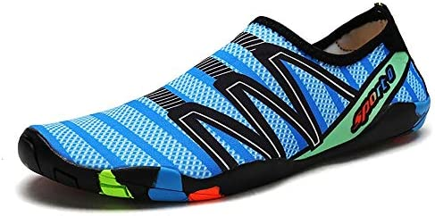 アウトドアビーチシューズダイビングシューズシュノーケリングシューズ速乾性の水の流れの靴女性と男性のスイミングシューズマルチサイズブルーグリッド ポータブル (色 : Blue, Size : US7.5)