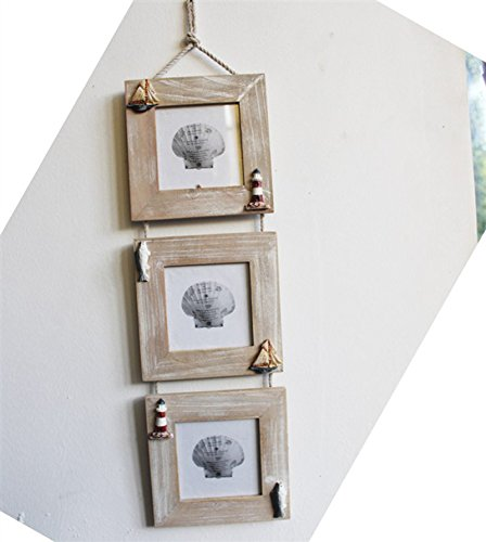 Reinhar 3.5 inch Mediterranean triple Wood Wall Photo Frame 3 Boxes Retro Style Family Photoes Frame Wooden Photo Frame
