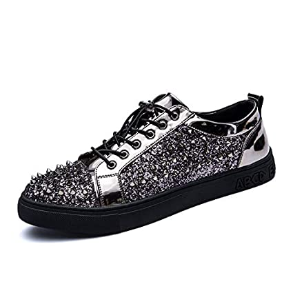 Men/'s Full Black Rivet Design Sneakers Increased Breathable Leisure New Shoes