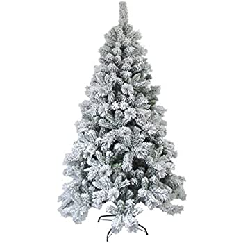 aleko ct95h1252 snow dusted 8 foot artificial holiday christmas tree with green metal stand - 8 Foot Christmas Tree