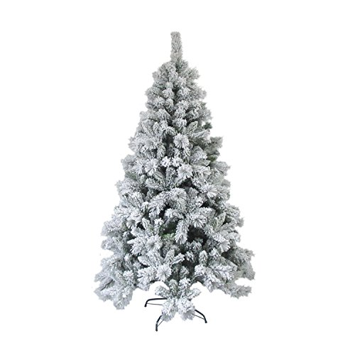 ALEKO CT95H1252 Artificial Holiday Christmas Tree Premium Pine with Stand Snow Dusted 8 Foot Green and - Needles Christmas Tree