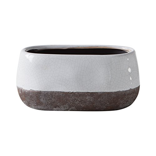 Torre & Tagus 902110A Corsica Ceramic Crackle 2 Tone Oval Pot Short, White