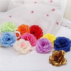 Lotus leaf fragrance 10pcs 8cm Gold Artificial Rose Silk Flower Heads Decorative Flowers for Wedding Home Party Banquet Decoration,Light Blue 3