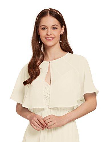 - AW Women's Chiffon Cardigan Shrug Cover Up Wedding Cape Wrap Shawl Bolero Jacket for Bride, Ivory, XL