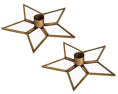 (Cypress Home Gold Star Metal Taper Holders, Set of 2)