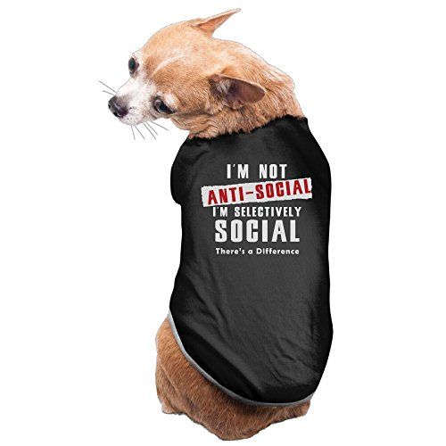 I'm Not Anti-Social Pet Clothes For Dog Cat Puppy Hoodies Coat Winter Sweatshirt Warm Sweater L (Walmart Cat Ears Halloween)