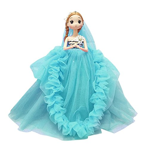 Gbell Beautiful 12 inch Wedding Party Dress Princess Doll - Soft Body Pendant Doll Favor Birthday for Little Girls,Assorted Blue Pink Purple Red White Dress (Wedding Rings Mint Tin)