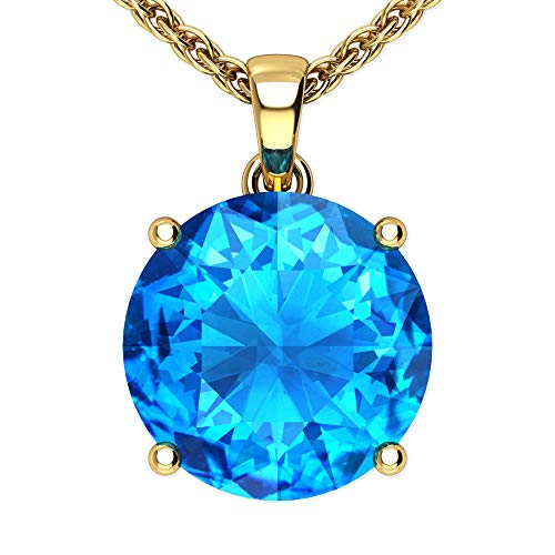 Belinda Jewelz 14k Rhodium Plated Yellow Gold Round Gemstone Sparkling Rope Chain Sterling Silver Birthstone Fine Jewelry Classic Womens Hanging Pendant Necklace, 4.1 Carat Swiss Blue Topaz, 18 inch