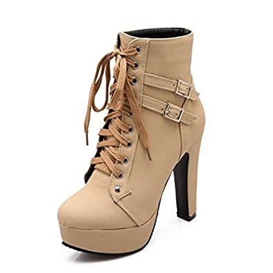 Susanny Women Autumn Round Toe Lace Up Ankle Buckle Chunky High Heel Platform Knight Beige Martin Boots 4 B (M) US