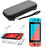 CHUIR NS Portable Carrying Case Travel Storage Bag for Nintendo Switch with Clear Dockable protective Cover and 9H Glass Screen Protector