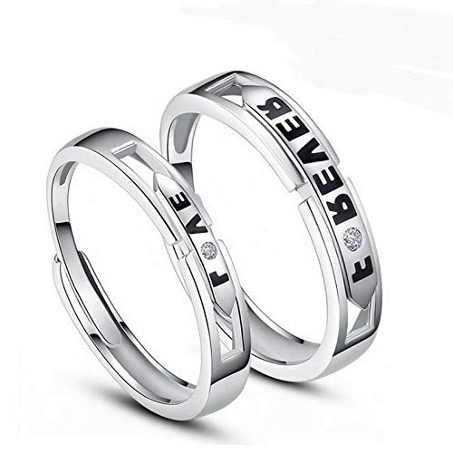 - Campton 1 Pair Silver Plated Lovers Couple Set Crystal Diamond Wedding Ring Jewelry | Model RNG - 11775 |