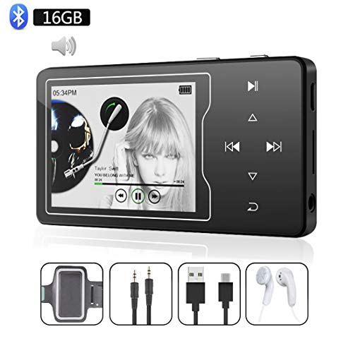 ChenFec MP3 Player Bluetooth 4.0 Lossless Sound 16GB Music Player with Build-in Speaker, 2.4 Inch Large HD Screen, Metal Material Touch Button, Expandable Up to 128GB, Black