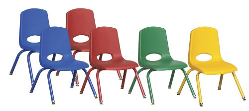 ECR4Kids 12'' School Stack Chair, Powder Coated Legs and Nylon Swivel Glides, Assorted (6-Pack) by ECR4Kids