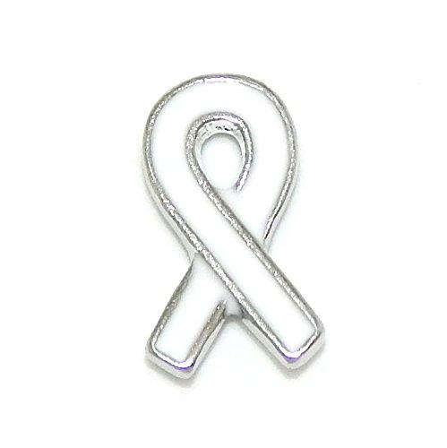Pro Jewelry  White Awareness Ribbon  Floating Charm For Locket Pendant 01061